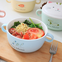 Cute ceramic lid foam noodle bowl soup bowl japanese style bowl with lid household large dormitory students