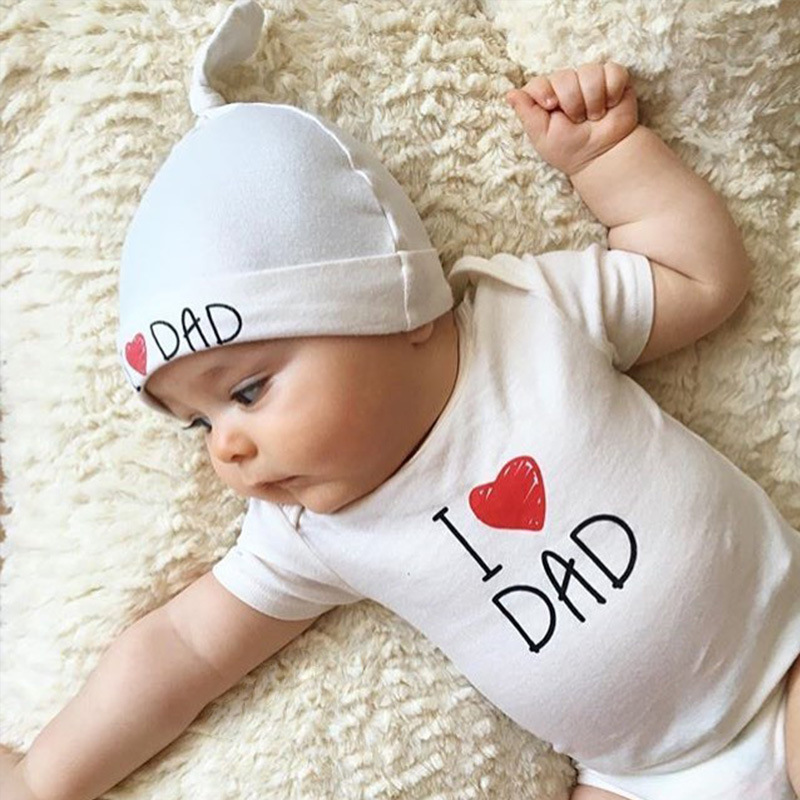 7e1fbc12ab557 Baby set Newborn Baby Clothing Love Mom Love Dad Sets Of Clothes hats+bodysuit  For Girls And Boys Cute Sweet Heart boy clothes-in Bodysuits from Mother ...