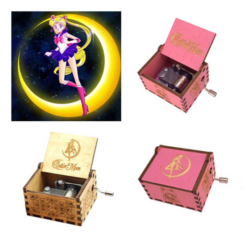 New Anime Sailor Moon Crystal Theme Original Hand Crank Hand-Crafted Engraved Wooden Music Box Crafts Halloween Gift Collection