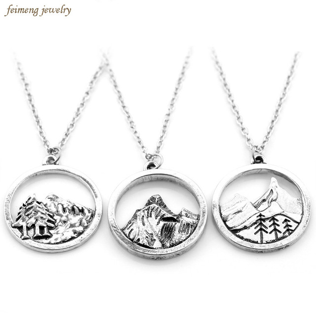 2017 new lovely round pendant pine tree charm under the mountain 2017 new lovely round pendant pine tree charm under the mountain necklace camping jewelry outdoor jewelry mozeypictures Image collections