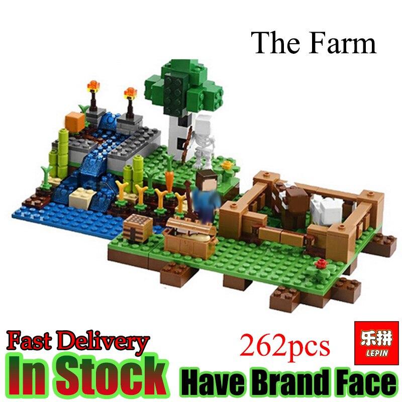 Lepin Minecraft 262pcs Farm animals My World Model Building Set Model Blocks Bricks Toys For Gift Kids my first animals