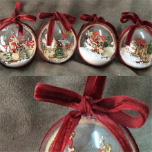 2PCS Winter Inside Clear Plastic Balls Ornaments For Christmas Tree Home Hanging Decorations For Xmas New Year Party Decor