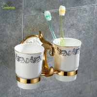 Cup & Tumbler Holders Brass Bathroom Toothbrush Holder ceramic gold Double Ceramic Cups Wall Mount Luxury Bathroom Accessories