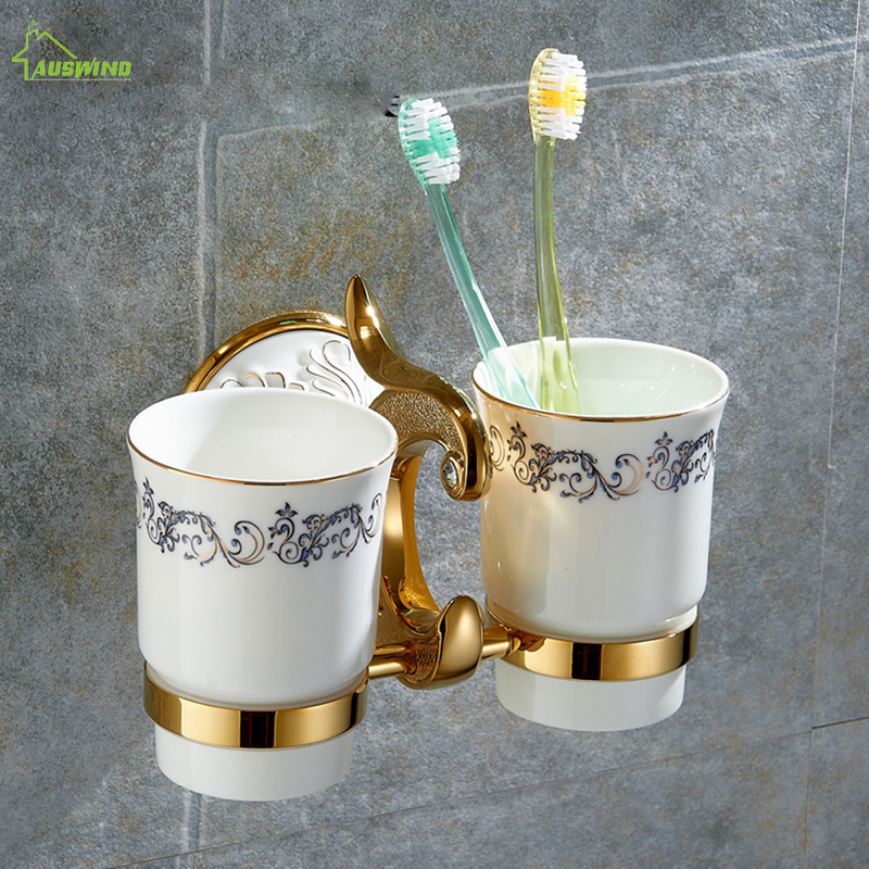 Cup & Tumbler Holders Brass Bathroom Toothbrush Holder ceramic gold  Double Ceramic Cups Wall Mount Luxury Bathroom Accessories batroom golden crystal double cup holder bathroom double cup rack holder hardware bath sets bathroom accessories