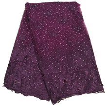 Hot sale purple lace fabrics with stones and sequences for women wedding dress high quality number field sieve and cdma sequences
