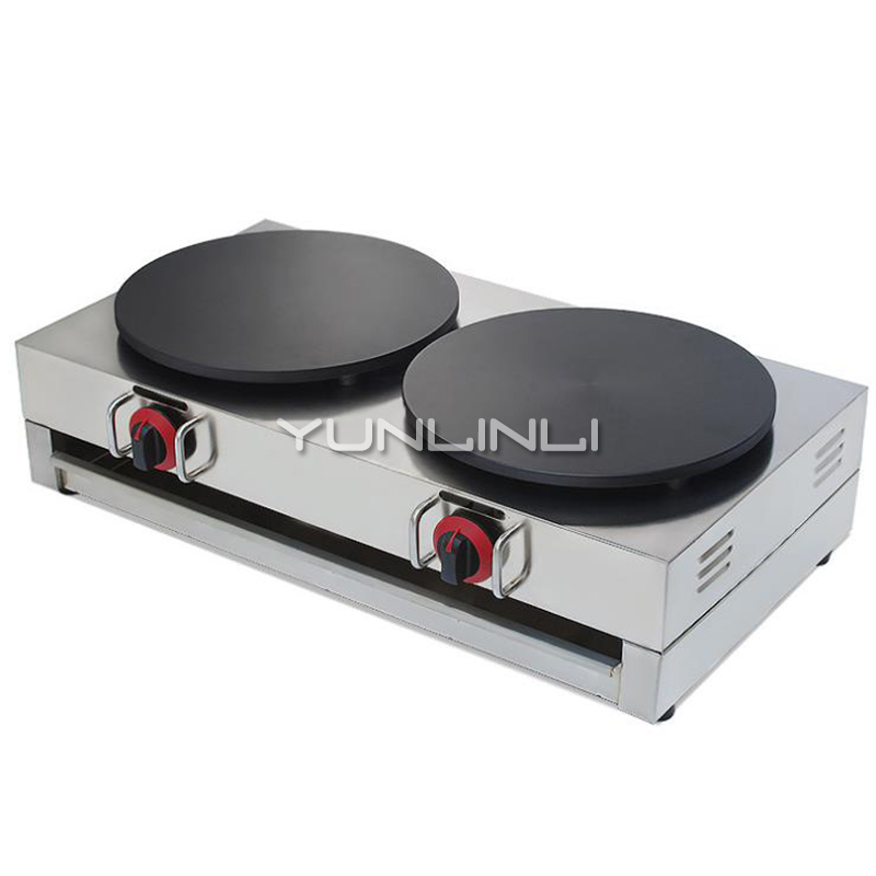 Commercial Gas Crepe Maker Double Burner Pancake Machine Gas Crepe Making Machine Pancake Maker NP-596 free shipping round type gas crepe machine french crepe maker