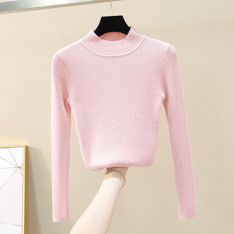 2019 autumn and winter Women 39 s Sweater long sleeved half high collar pullover bottoming Sweater in Pullovers from Women 39 s Clothing