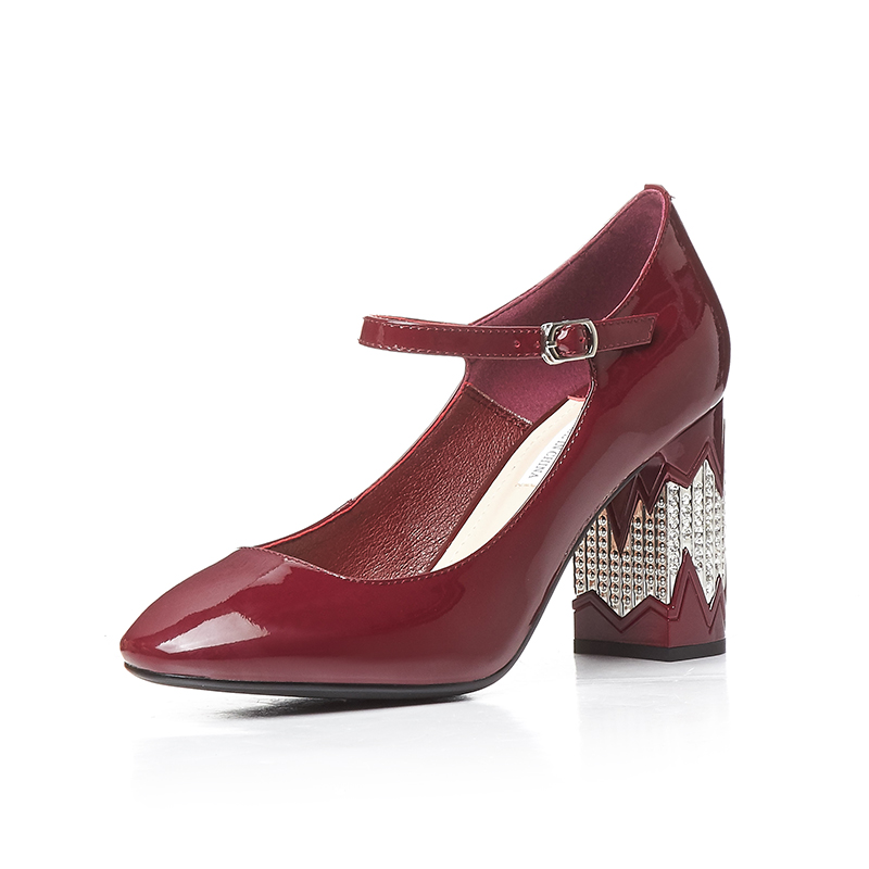 ФОТО Women pumps Thick heel Genuine leather Red color Size 34-39 Sexy ladies dress shoes 8 cm heels Fashon Wedding shoes Woman D-306