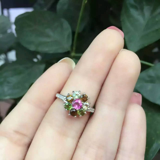 Natural multicolor tourmaline gem Ring Natural gemstone ring 925 sterling silver trendy round Circle women girl gift Jewelry