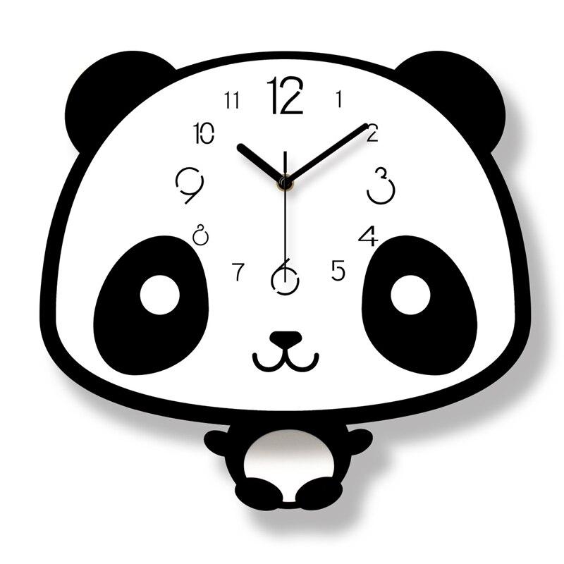 Cute Kids Room Wall Clocks Panda Type Children Gifts Wall Clocks Decor Silent Mute Home Clock Cartoon Wall Clock