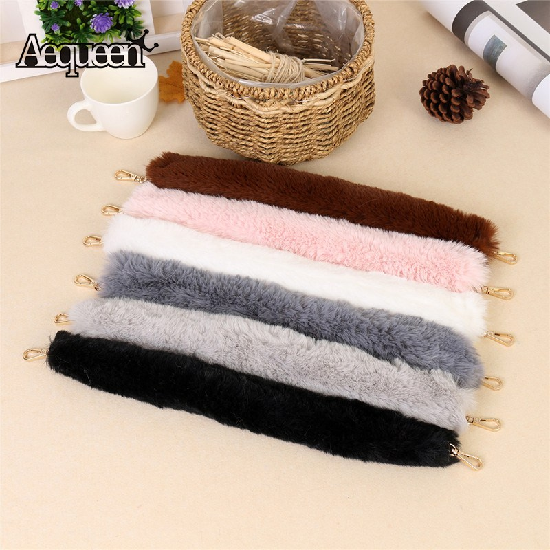 AEQUEEN Warm Fur Bag Strap 45/100/120CM Bag Straps Handbag Handle Crossbody Bag Belts Shoulder Belt Bag Accessories Parts Black