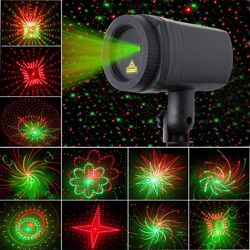Remote Control Red Green 20 Patterns Laser Light Outdoor Waterproof Laser Garden Party Projector Landscape Decorative