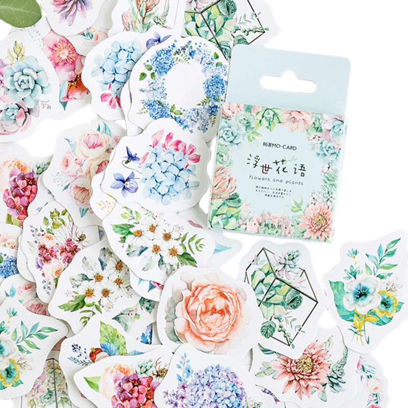 46pcs pack green plants series paper stickers DIY decorative scrapbooking sticky for diary album gifts label in Stationery Stickers from Office School Supplies