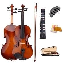 4/4 полный размер натуральная акустическая Скрипка o с Чехол смычок канифоль немой наклейки для начинающих 6 шт./партия наборы струн для скрипки