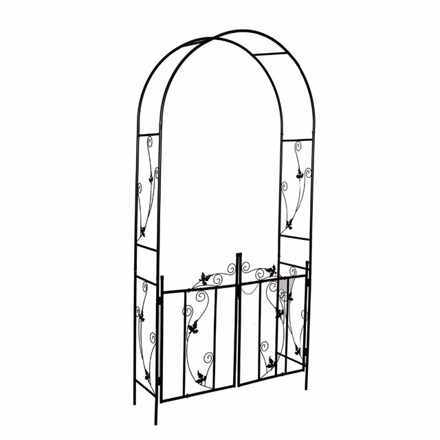 Steel Garden Arch With Gate 7 6 High X 3 9 Wide