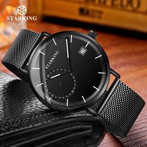 Image 3 - STARKING Men Watch Luxury Quartz Analog Clock Mesh Band Leather Strap SET Watch Auto Calendar Second Dial Watch Man Relogio