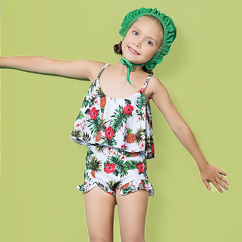 2017 Little Girl Swimwear Bikini Set Cute Print High -5153