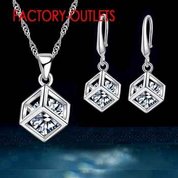 925 Sterling Silver Necklaces Earrings Jewelry Sets Fashion Jewelry Square Cubic Zirconia   Women Girls Engagement Anniversary 925 sterling silver stud earrings fashion jewelry for decoration trendy style cz cubic zirconia women girls party engagement