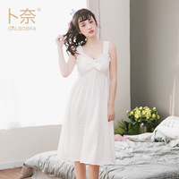 Summer New Cotton Knit Harness V Collar Lace Nightdress Up Cover Sexy Pajamas