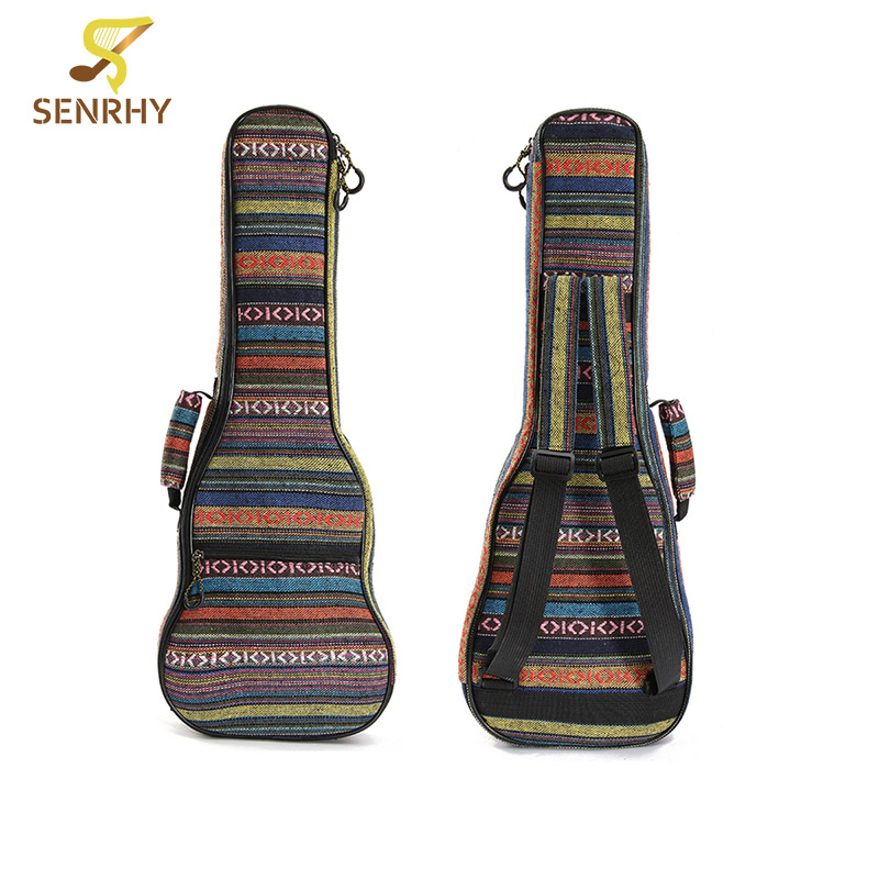 Senrhy 21''23''26'' Inch Cotton Ukulele Bag Padded Portable Nylon Guitar Case Box Bass Guitar Cover Backpack With Double Straps waterproof ukulele bag case backpack ukelele guitar accessories blue 23 24 inch 66 26cm