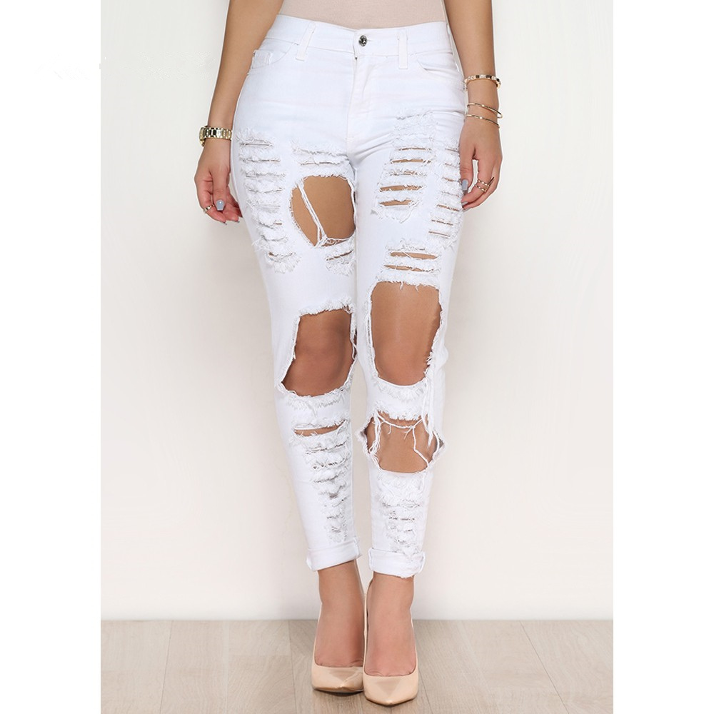 ba00984933158 Sexy big holes ripped jeans tassels skinny high waisted pencil pants women  trousers black white plus size womans feminino-in Jeans from Women s  Clothing on ...