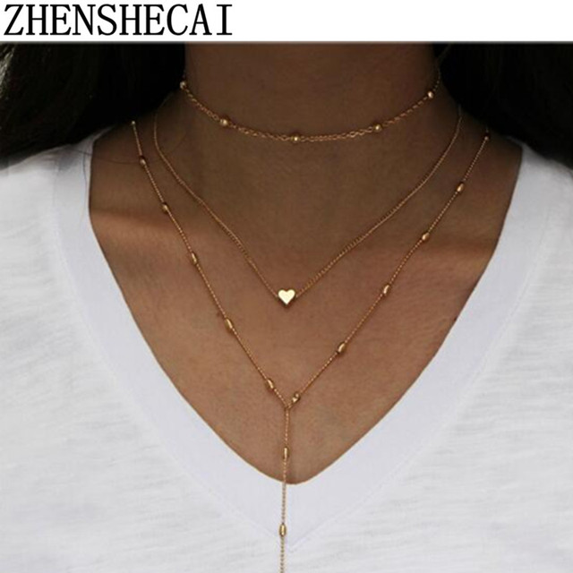 European Simple Coin Bar of Multiple Layers of Tassels Clavicle Chain Necklace W
