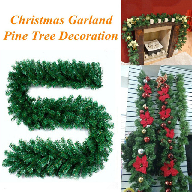 new large christmas wreath 1pc 27m 220 branches christmas decorations ornaments xmas tree garland rattan - Large Christmas Wreath