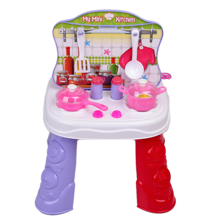Play house toys 2 IN 1 Kitchen set & Dresser mirror/Hair dryer/comb/Hair spray/pan/spoon/kitchen items toys baby girl toy gift