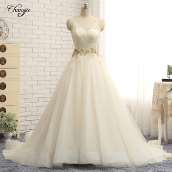 Vestido de novia sin espalda 2018 cuello pico sin mangas capilla tren...