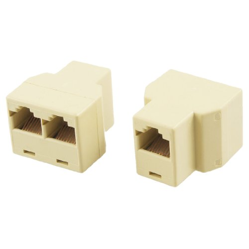 CAA-New 2 Pcs khaki Plastic 3 Way RJ45 LAN Network Ethernet Splitter Connector
