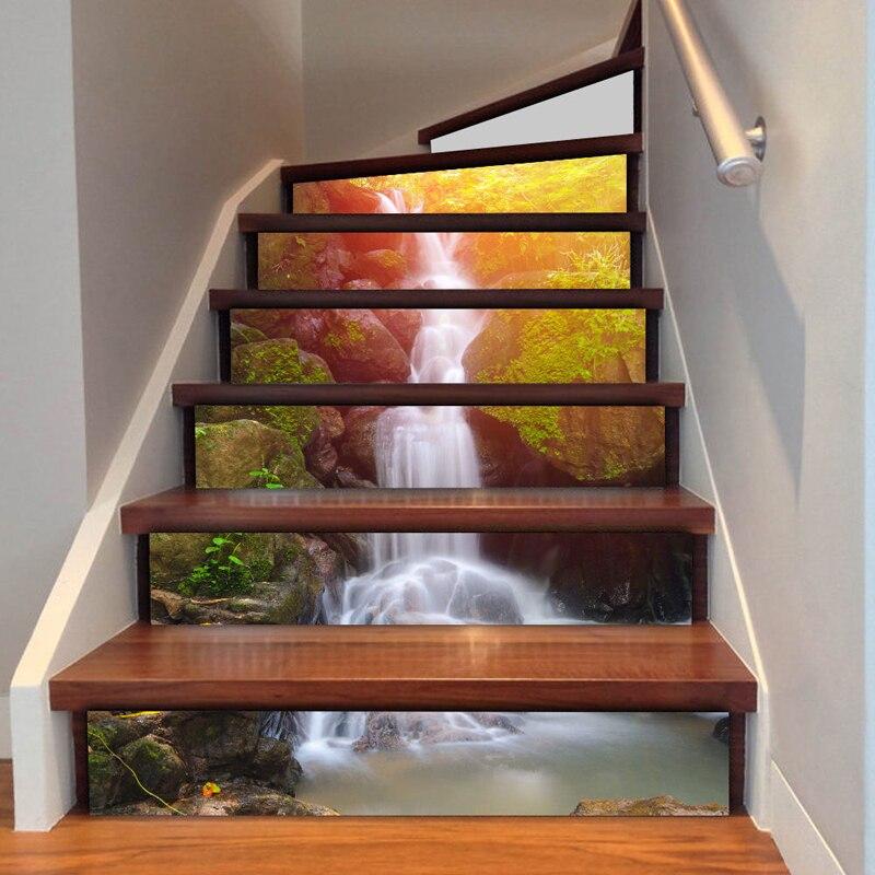 unids cascada d pegatina risers escaleras mural tema sunset pegatinas diy paisaje escaleras casa etiqueta