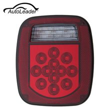 AutoLeader Red White 39 LED Stop Turn Tail 12V ABS Reverse License Light For Truck Trailer Boat /Jeep/ TJ CJ YJ JK