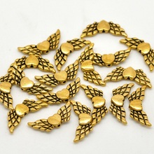 LASPERAL 50-100Pcs Antique Golden Color Charms Beads 4-22mm Snowflake Heart Angel Wing Cube Metal Beads For Jewelry Making(China)