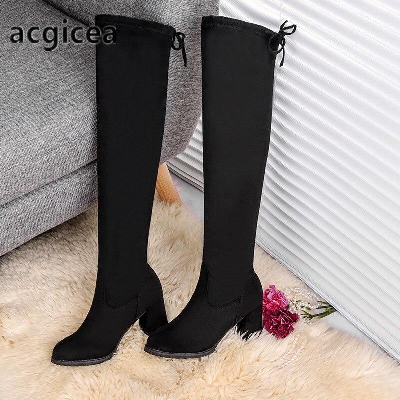 Botas Redonda Rodilla Tacón Alto Bombas Hasta T04 Zapatos Mujeres Caliente Mujer Casuales Para La Invierno Plataforma Nieve Black Las De Punta Xnqw7wxYB