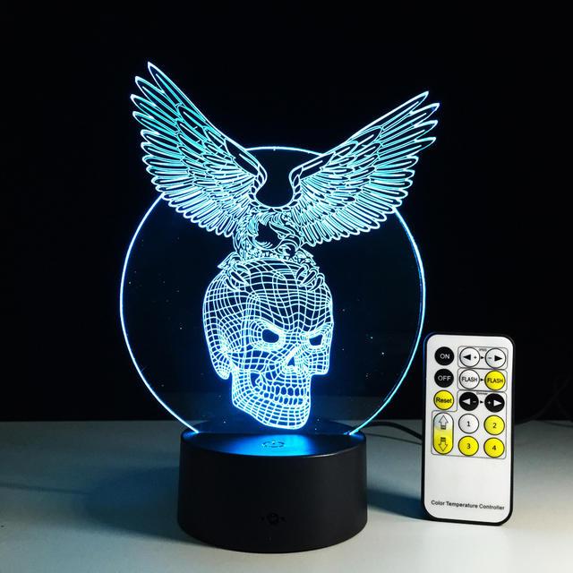 7 FARSAMADA ISKUULADA ISKU BADAN 3D XNUMXD oo ay ku dheehan tahay EAGLE LED LAMP