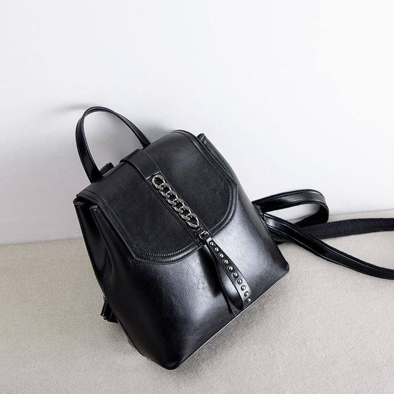 Модные рюкзак с цепочкой масло воск кожа коровы Ins черный Цвет рюкзаки женские путешествия покупки Повседневное сумка маленький школьный рюкзак книжный пакет - 3