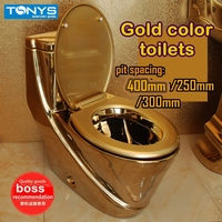 Household ceramic gold color toilets one piece seat toilet washdown one piece water pumping gold zuopianqi closestool TC658
