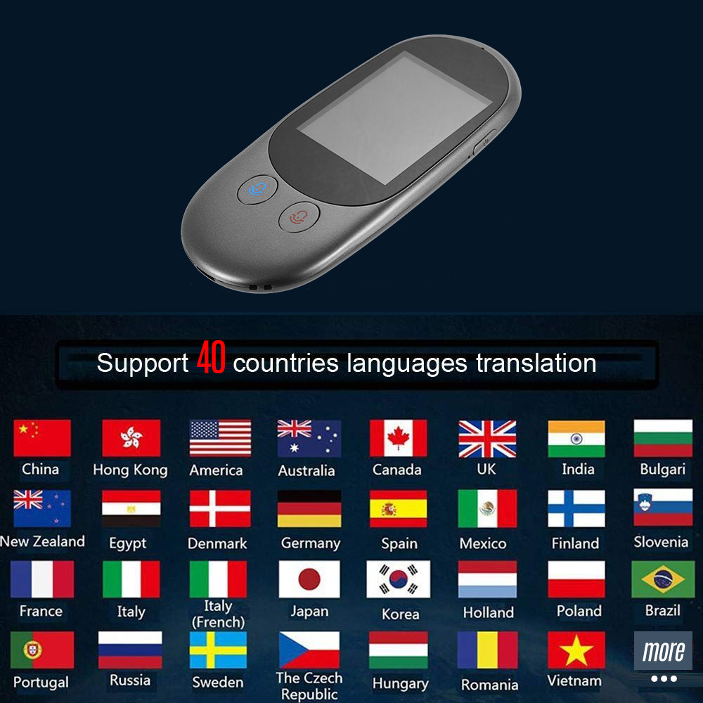Smart Language Voice Translator Device Translation 40 Languages 2.4 Inch TouchScreen Rechargeable Battery for Learning Traveling dock connector to usb cable