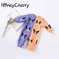 Fall 2017 Baby Print Cotton One Piece Dress Clothes For Newborns Baby Girl Clothes Baby Boy