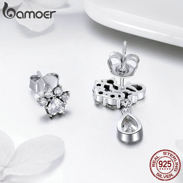 BAMOER Hot Sale 925 Sterling Silver Dazzling CZ Guardian Cat Stud Earrings for Women Fashion Sterling Silver Jewelry 2018 SCE424