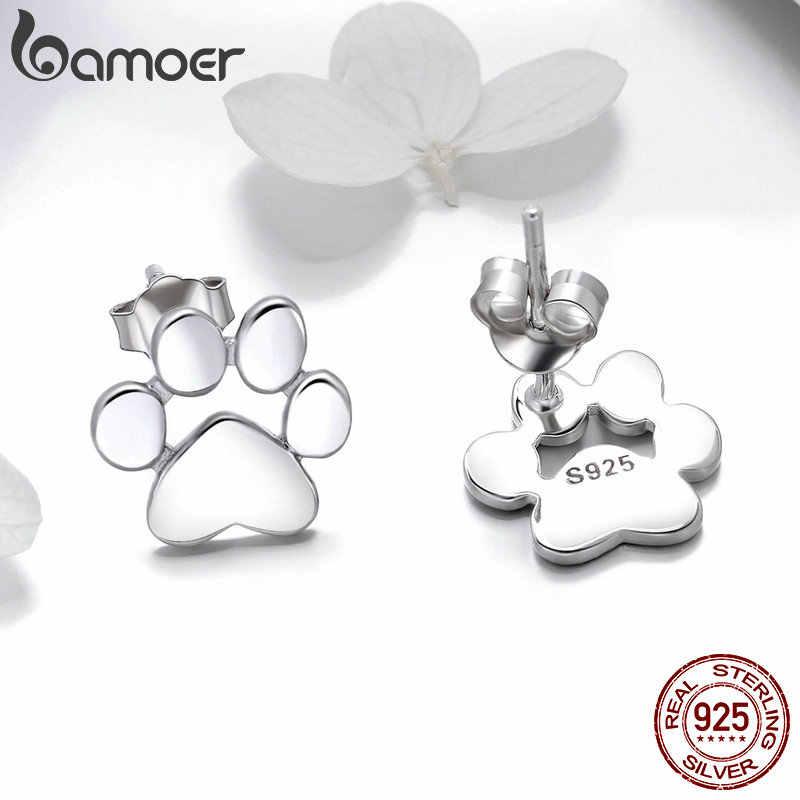BAMOER bamoer 925 стерлингового серебра животных лапа собаки, кошки серьги гвоздики для женщин лапы подарок на день Святого Валентина SCE407