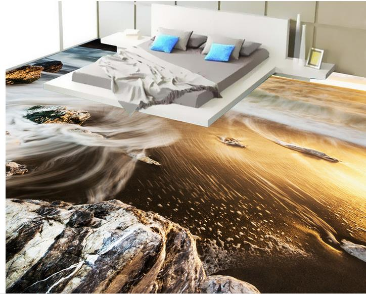 3d floor painting wallpaper Beach view 3D flooring 3d wallpaper pvc floor wallpaper 3d for bathrooms