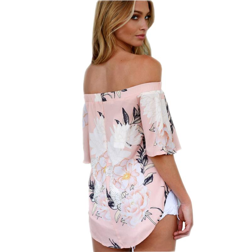 Summer Style T Shirt Fashion Women Off Shoulder Floral Printed Casual Beach Tops Sweet Loose Tee Shirt Dames Kleding #BF