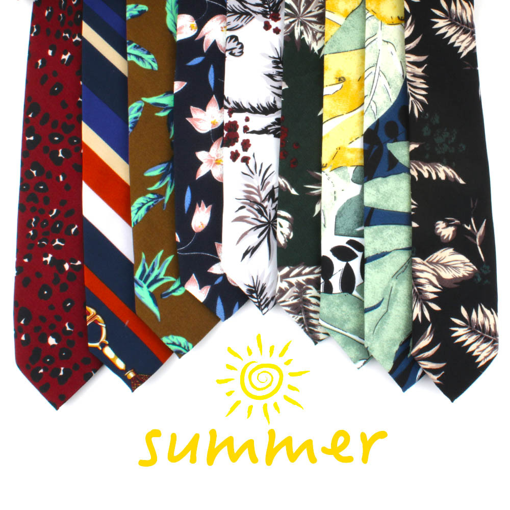 2019 New Tie Men's Printed Leaves Flowers Tropical Plants Cotton 7cm Arrow-type Tie Fashion Trend Personality