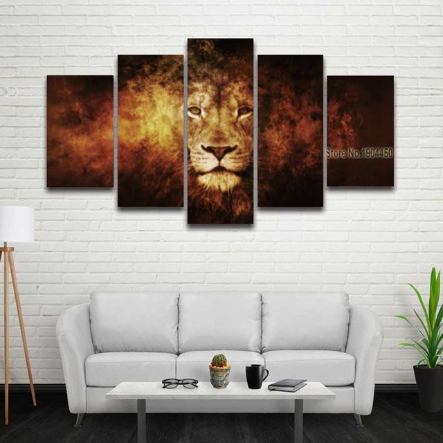 5 Panels Printed Lion Face Head Modular Picture Landscape Mockup Canvas Painting For Wall Art Home