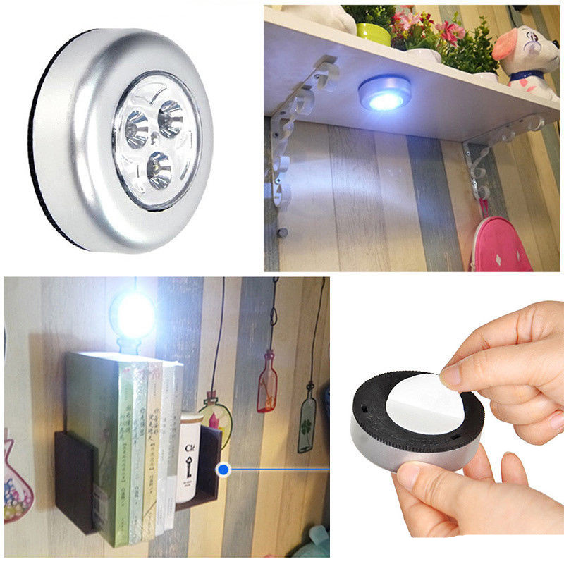 Battery Powered Mini 3LED Night Light Wireless Push Touch Cabinet Closet Lamp Night Light Self-stick Stick On Anywhere
