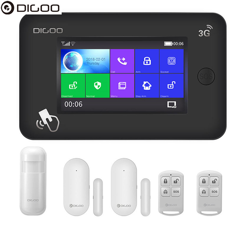 DIGOO DG-HAMA All Tou ch Screen 3G Version Smart Home Security Alarm System Kits Support APP Control Amazon Alexa-US Card SlotDIGOO DG-HAMA All Tou ch Screen 3G Version Smart Home Security Alarm System Kits Support APP Control Amazon Alexa-US Card Slot