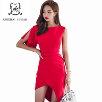 Summer Women Dress Red Colour Sexy Slim One Shoulder Petal Sleeve Vestidos Sheath Tight Party Irregular