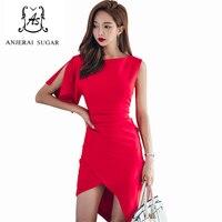Yaz kadın elbise kırmızı renk seksi İnce Bir omuz petal kollu vestidos Kılıf Sıkı parti Düzensiz tasarım paketi kalça elbise