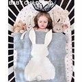 105*75 cm de Punto Niños conejo de dibujos animados de Manta de lana hecho a mano mezclado suave manta de Bebé recién nacido bebé swaddle sofá tiro manta